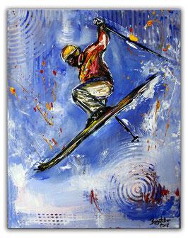Jumper - Skifahrer Bild 40x50 - Skiläufer Malerei