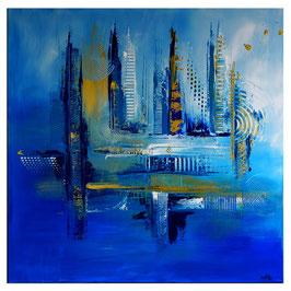 Tiefenrausch blaues abstraktes Wandbild 100x100