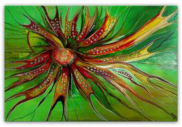 Esprit abstraktes Wandbild Malerei grün rot 80x120