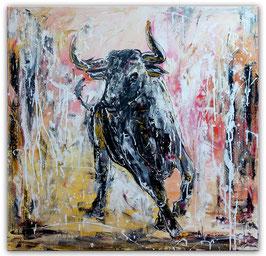 Sano Wandbild wilder Stier Bulle Malerei 100x100