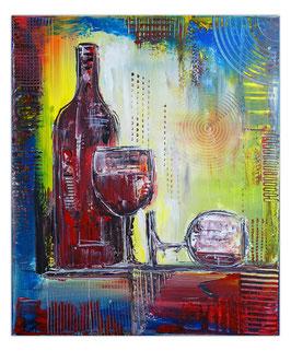 Weingläser Flasche abstrakte Malerei Rotwein 50x60
