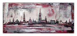 Ulm Skyline rot silber 140x60 Wandbild abstrakt gemalt