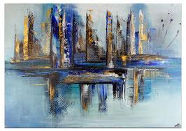 Hafenstadt abstrakte Malerei blau gold 120x80