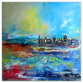 Amsterdam abstraktes Wandbild Leinwand 100x100