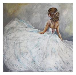Goldenes Haarband Braut Ballerina Gemälde 100x100