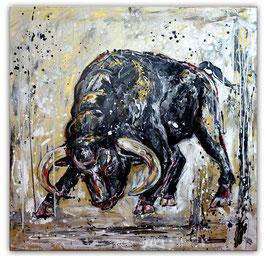 Rocky wilder Stier Bulle Malerei handgemalt 100x100