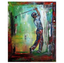 Golfer Abschlag Golfbilder Acrylbild 80x100
