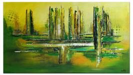 Grüne Lunge abstraktes Wandbild handgemalt 140x80