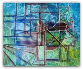 Blauer Vogel - abstrakte Kunst Wandbild 50x60cm