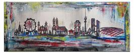 München Skyline Gemälde 140x60 abstrakt