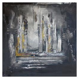 Schwarz grau Ocker abstraktes Kunstbild 100x100