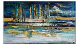 Nordwind abstrakte Malerei blau gold 140x80