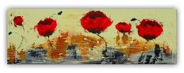 Mohnblumen im Wind - Küchenbild Acrylbild 30x90