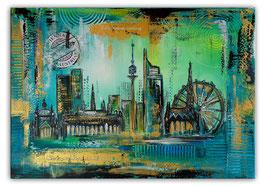 Wien Wandbilder Skyline Stephansdom Prater 70x100