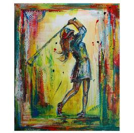 Golferin Golfspielerin Abschlag Gemälde 80x100