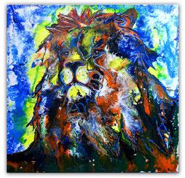 Simba Löwen Wandbild handgemalt Tierbild 100x100