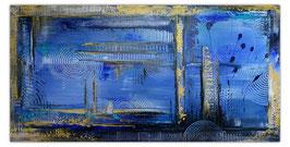 Unterwasserstadt blau ocker abstrakte Malerei 50x100