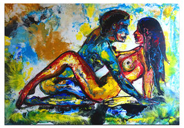 Mann Frau Liebespaar Erotik Gemälde 116x81 Wandbild