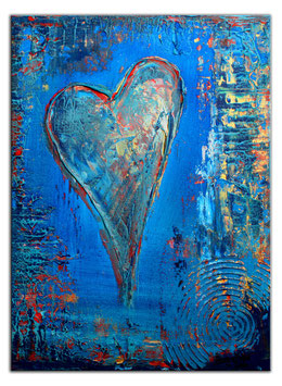 183 Herzbild Wandbild Herz Gemälde blau 30x40