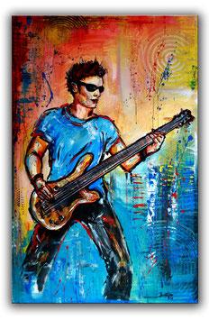 Gitarre, Gitarrist, Bassist Musiker Gemälde 65x100