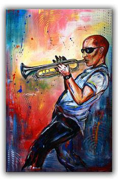 Trompetenspieler Trompete Musiker Gemälde 65x100