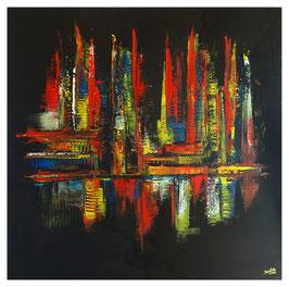 City Night leuchtende Farben Moderne Bilder 100x100