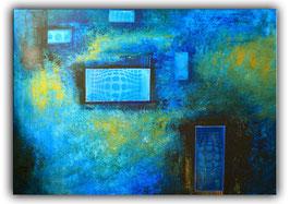 Mystic Türkis Blau Abstrakte Kunst Malerei 70x100