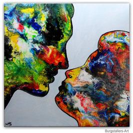 Der Kuss 80x80 Mann Frau Liebespaar Bild Gemälde