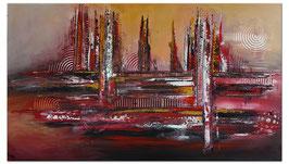 Denver abstrakte Skyline Leinwandbild 140x80