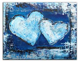 161 Herzbild Herzgemälde Doppelherz abstrakt 30x40