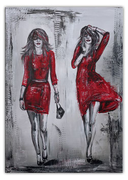 Frauen rote Kleider Malerei Acrylbild 70x100 Gemälde