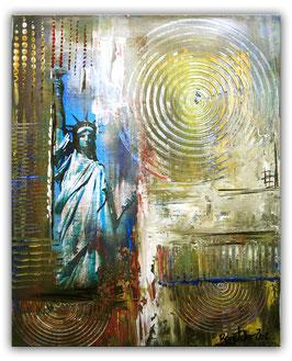 Freiheitsstatue Statue Liberty abstrakt Umdruck 40x50