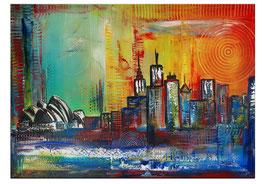 Sydney Skyline 2 abstrakt gemalt Stadtbild 100x70