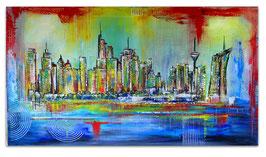 Frankfurt Skyline handgemalt abstrakte Malerei 80x140