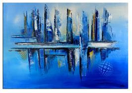 Stralsund Skyline abstrakte Malerei 116x81 blau