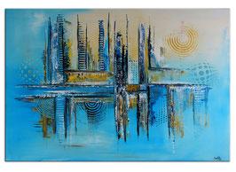 Kiel abstrakte Kunst Wandbild blau ocker 116x81