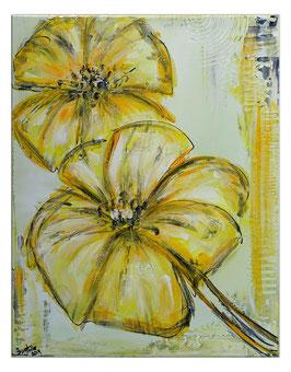 Zwei gelbe Blüten handgemaltes Blumenbild 40x50
