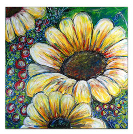 Sonnenblume Gemälde Malerei Acrylbild Unikat 80x80
