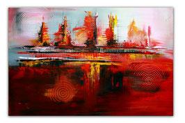 Rote Kreise - Bild abstrakt Leinwand 80x120