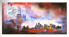 Sydney 2 Städte Bild  Malerei mit Umdruck 50x100