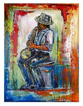 Musiker Gemälde Saxophon Malerei Acrylbild 60x80