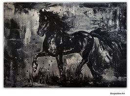 Schwarzer Hengst handgemalt Pferdebild 90x130