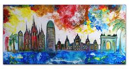 Barcelona abstrakt gemalt Sagrada Familia 100x50