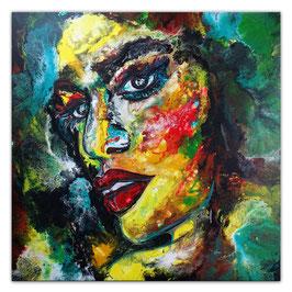 Witch 100x100 Abstrakte Malerei Gesicht Fluid Art