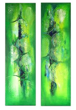 Wandbilder grün abstrakt Acrylgemälde zweiteilig 3+4