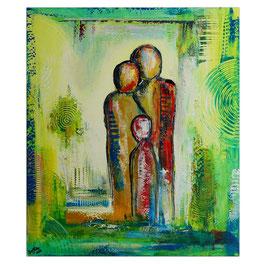 Familien Trio Figuren Malerei Wandbild 60x80
