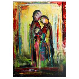 Familien Quartett Figuren Malerei abstrakt 70x100