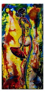 Fächer Frau Erotik Bild Gemälde Frau nackt 50x100