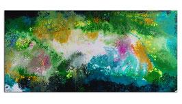 Frühling Abstrakte Malerei Wandbild blau grün 145x70