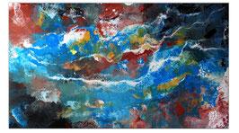 Amazonas Abstraktes Leinwandbild blau 140x80